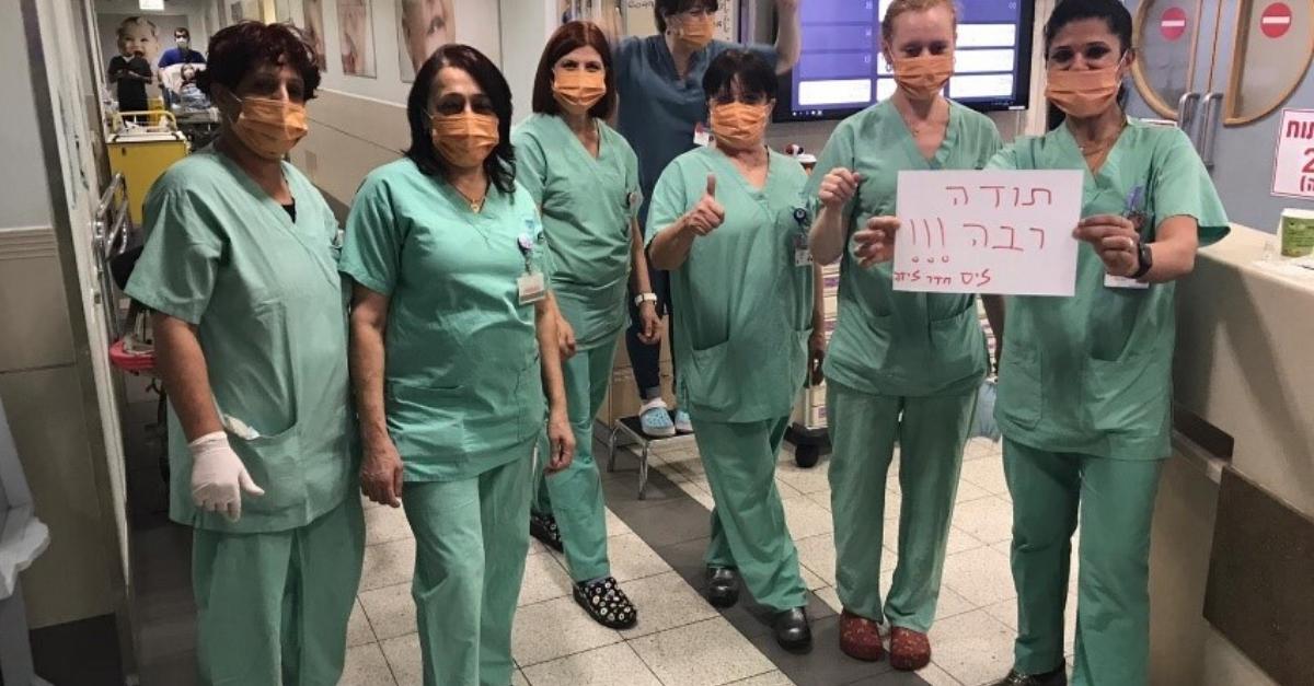 הצוות הרפואי של בית חולים ליס עם המסיכות