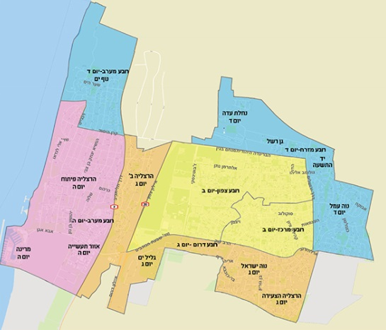 מפת פינוי הגזם החדשה של הרצליה