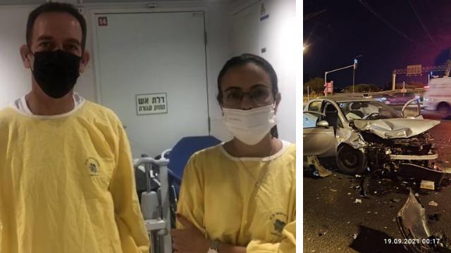 אבי ויפעת אברביה באיכילוב ליד מיטת בנם שנפגע בתאונת דרכים
