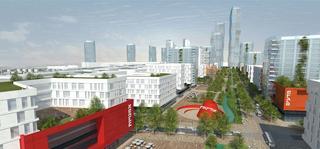 """""""קריית המסלול הרצליה"""", בנייני המרכז הבינתחומי והמגדלים ברקע (הדמיה: פרחי צפריר אדריכלים)"""